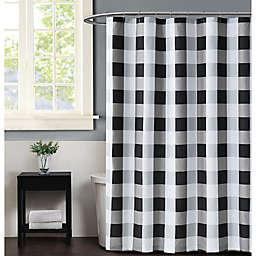 Truly Soft Buffalo Plaid Shower Curtain in Black