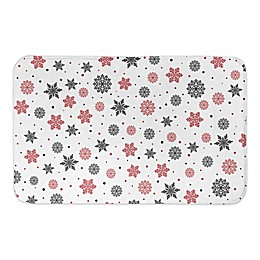 "Designs Direct Snowflake 34"" x 21"" Bath Rug in Red/Black"
