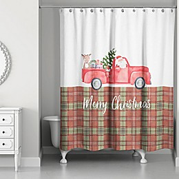Designs Direct 71-Inch x 74-Inch Christmas Truck Shower Curtain in Red/Green