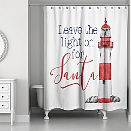 Designs Direct 71-Inch x 74-Inch Leave the Light on For Santa Shower Curtain