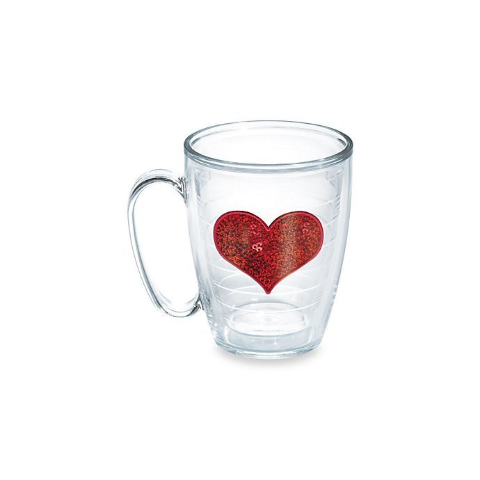 Alternate image 1 for Tervis® Sequin Heart 15-Ounce Mug in Red
