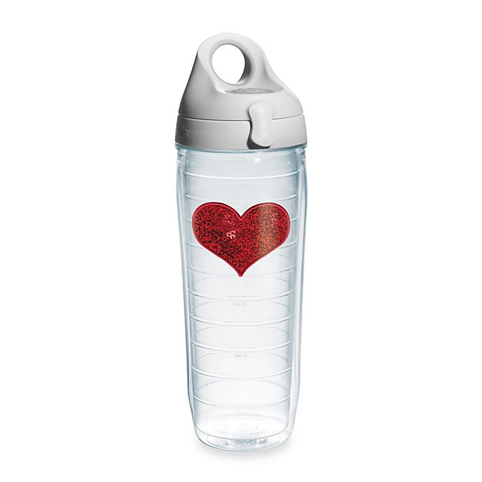 Alternate image 1 for Tervis® Sequin Heart 24-Ounce Water Bottle in Red