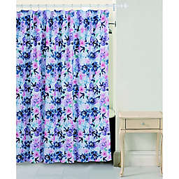 Bloom By Sara Berrenson Rose Shower Curtain in Indigo