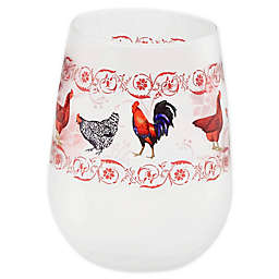 French Country Chicken Stemless Wine Glasses (Set of 4)