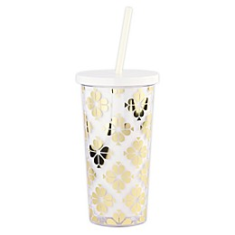 kate spade new york Spade Flower Tumbler with Lid and Straw in Gold