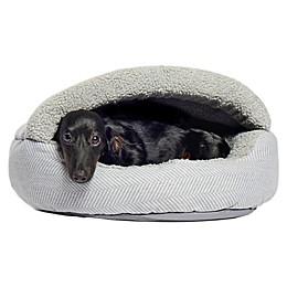 Precious Tails Plush Fleece Herringbone Cave Pet Bed