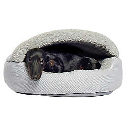 Precious Tails Plush Fleece Herringbone Cave Pet Bed
