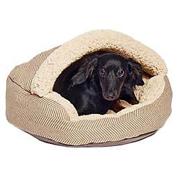 Precious Tails Plush Fleece Herringbone Cave Small Pet Bed in Mocha
