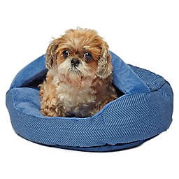 Precious Tails Plush Fleece Herringbone Cave Small Pet Bed in Navy