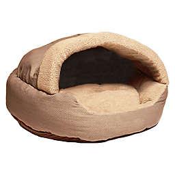 Precious Tails Plush Fleece Cave Herringbone Medium Pet Bed in Mocha