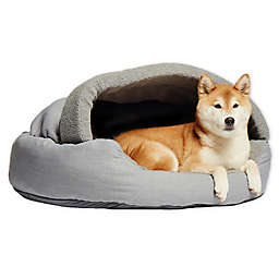 Precious Tails Plush Fleece Herringbone Cave Large Pet Bed in Grey