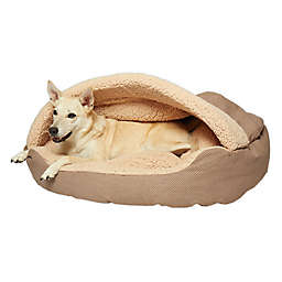 Precious Tails Plush Fleece Herringbone Cave Large Pet Bed in Mocha