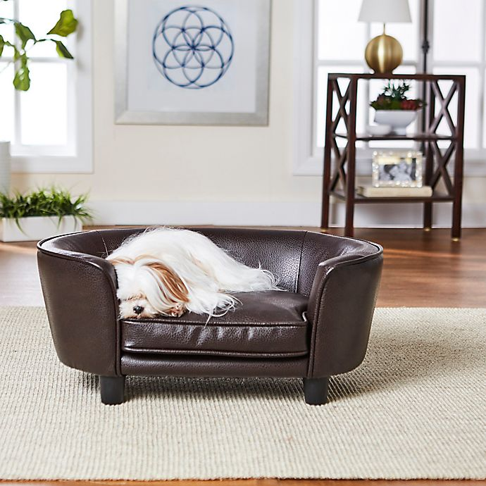 Alternate image 1 for Enchanted Home™ Pet Faux Leather Small Pet Sofa Bed in Brown