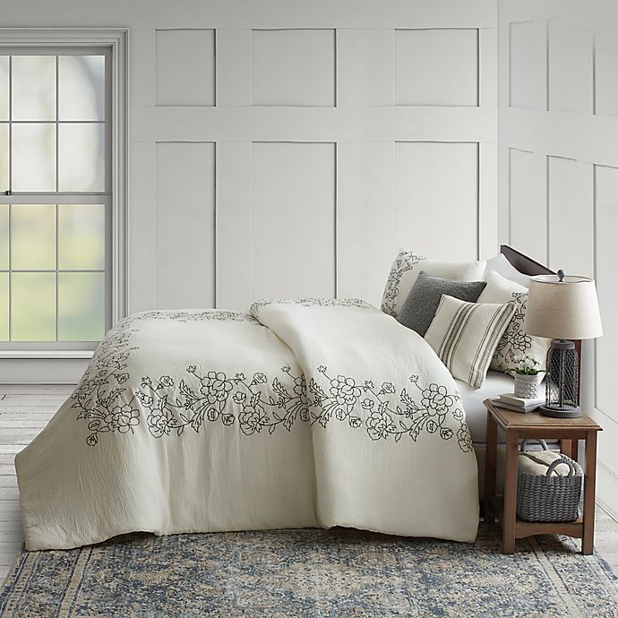Alternate image 1 for Bee & Willow™ Home Floral Embroidered Frame 3-Piece King Comforter Set in White/Black