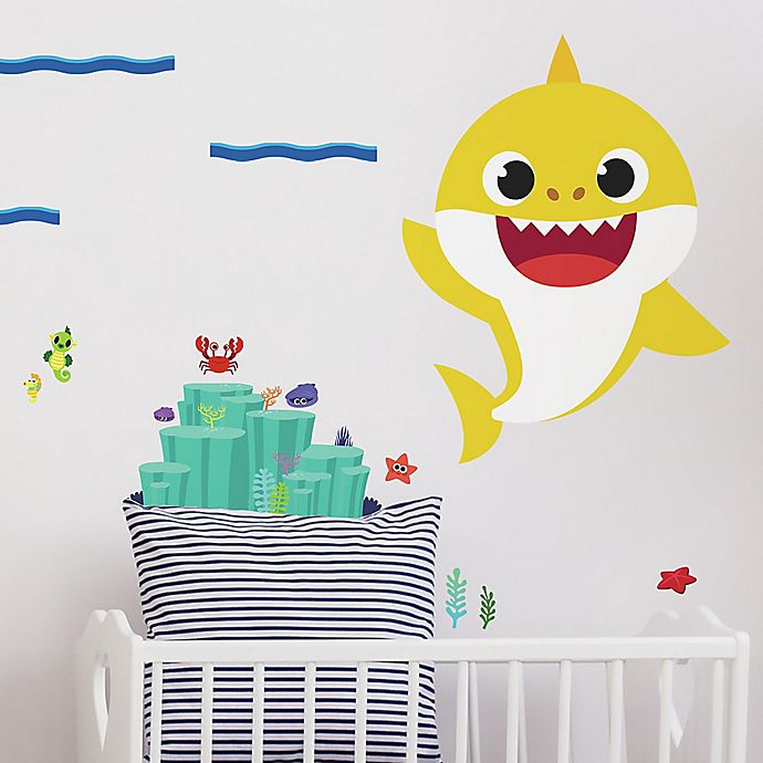 Alternate image 1 for RoomMates® 19-Piece Baby Shark Peel and Stick Giant Wall Decal Set
