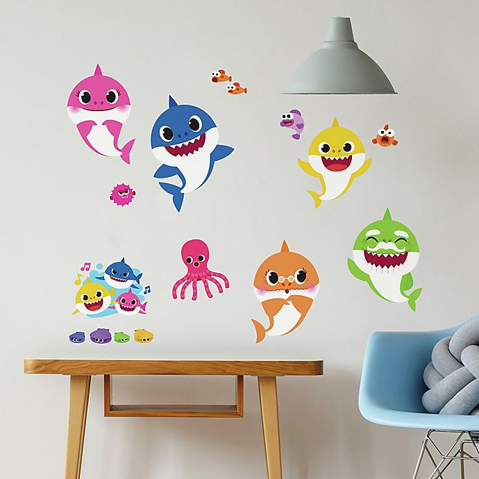 Alternate image 1 for RoomMates® 35-Piece Baby Shark Peel and Stick Wall Decal Set