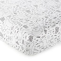 Nest & Nod Nico Woodland Fitted Crib Sheet in Black/White
