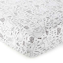 Nest & Nod Nico Woodland Fitted Crib Sheet in Black/White