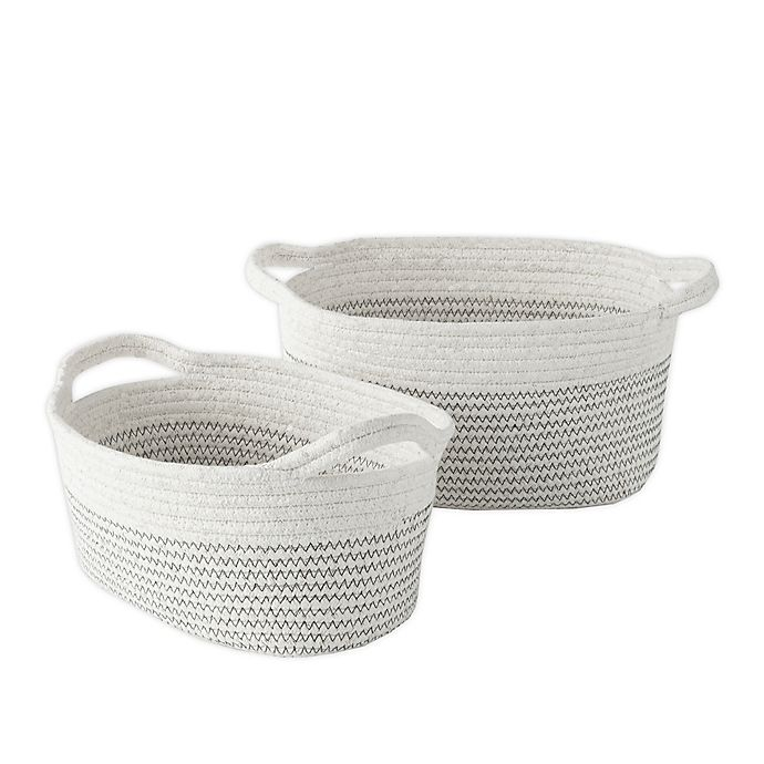 Alternate image 1 for Nest & Nod Nico Rope Storage Bins in Charcoal/Ivory (Set of 2)