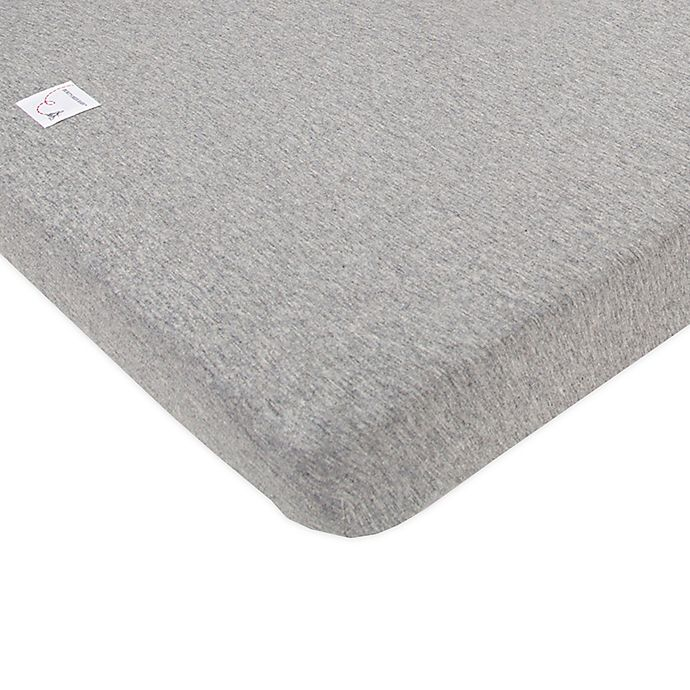 Alternate image 1 for Burt's Bees Baby™ Organic Cotton Mini Fitted Crib Sheet in Heather Grey