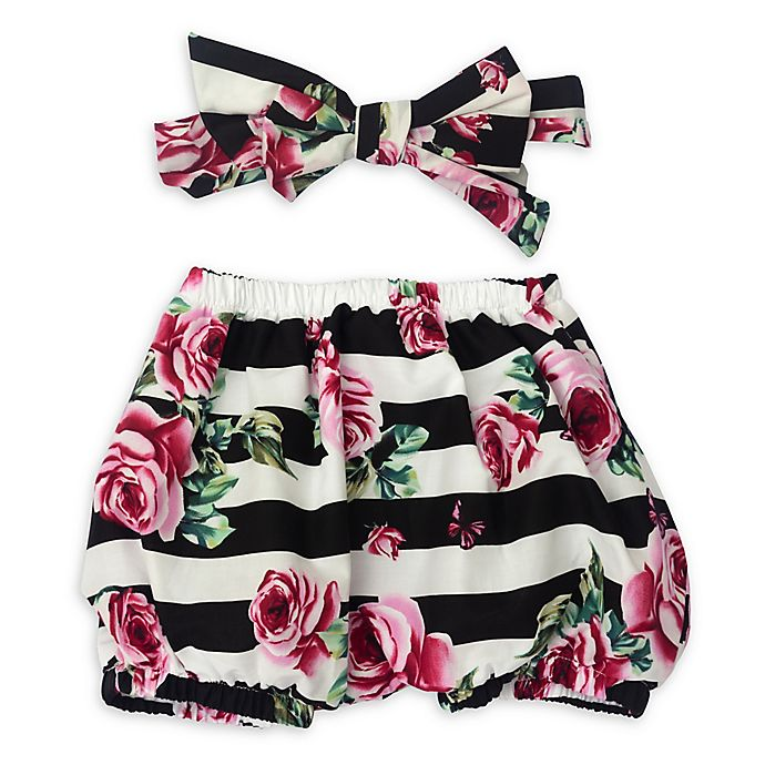 Alternate image 1 for So 'dorable™ 2-Piece Striped Flower Diaper Cover and Headband Set