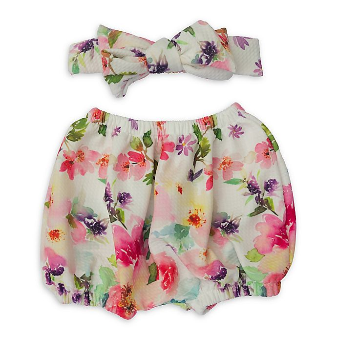 Alternate image 1 for So'Dorable Diaper 2-Piece Floral Diaper Cover and Headband Set
