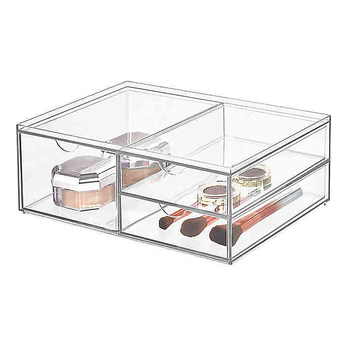 Alternate image 1 for iDesign™ 3-Drawer Clear Wide Stackable Cosmetic Organizer