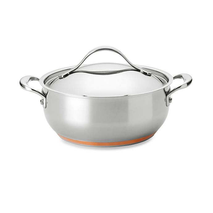 Alternate image 1 for Anolon® Nouvelle Copper Stainless Steel 4 qt. Covered Casserole