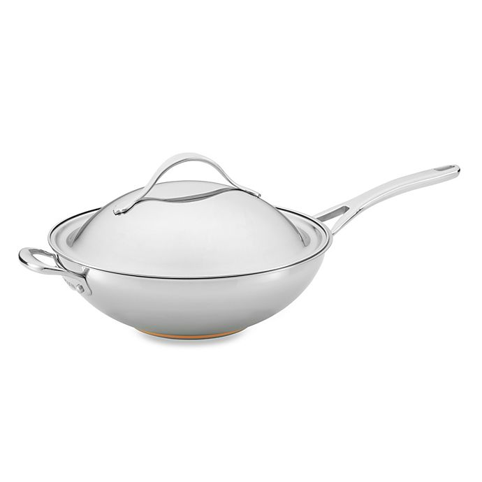 Alternate image 1 for Anolon® Nouvelle Copper Stainless Steel 12-Inch Covered Stir Fry Pan with Helper Handle
