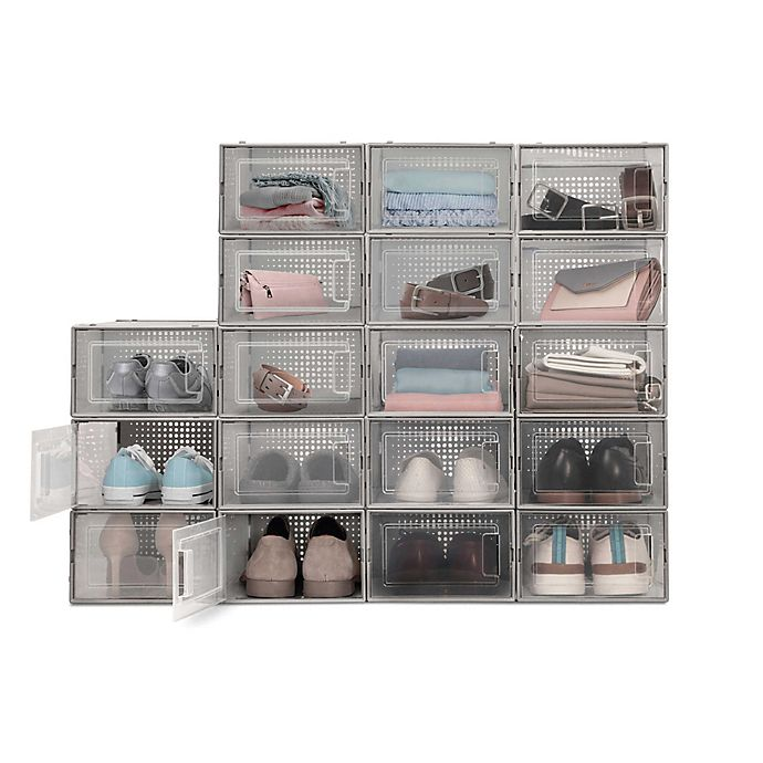 Alternate image 1 for Swing Front Shoe Storage Bins (Set of 6)