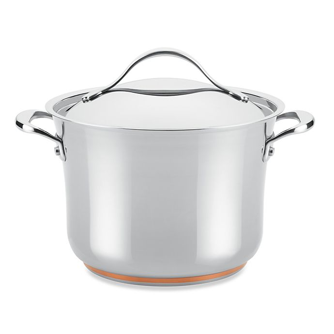 Alternate image 1 for Anolon® Nouvelle Copper Stainless Steel 6.5 qt. Covered Stock Pot