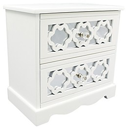PKO Inc. Mirrored Drawer Jewelry Box in White