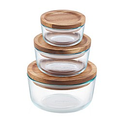 Pyrex® 6-piece Glass Food Storage Container Set with Wood Lids
