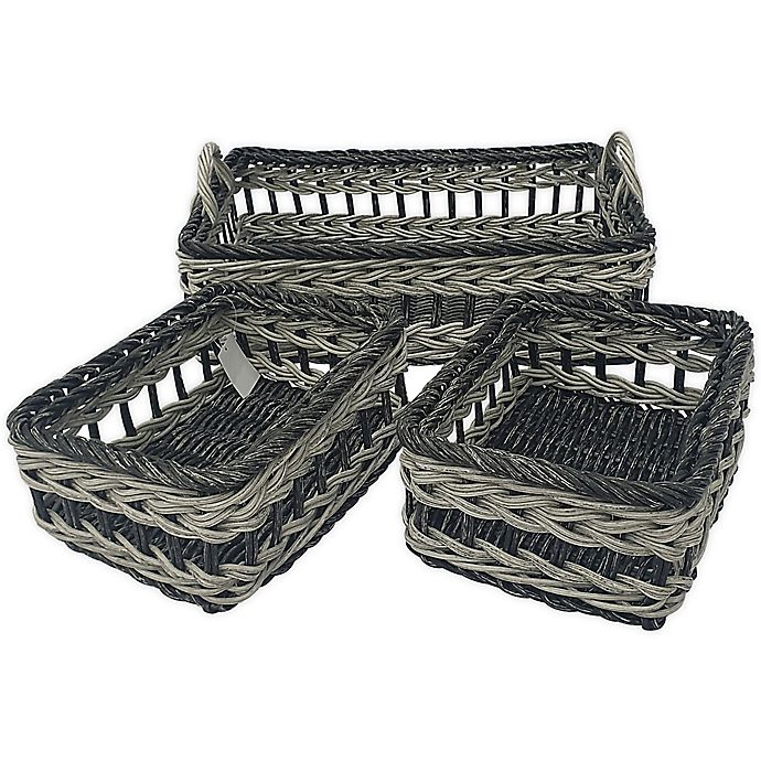Alternate image 1 for Baum Valencia Faux Wicker Sweater and Shelf Baskets (Set of 3)