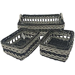 Baum Valencia Faux Wicker Sweater and Shelf Baskets (Set of 3)