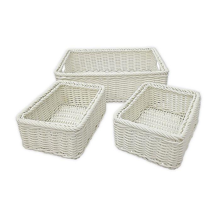 Alternate image 1 for Baum Lisbon Faux Wicker Sweater and Shelf Baskets (Set of 3)