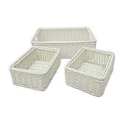 Baum Lisbon Faux Wicker Sweater and Shelf Baskets (Set of 3)