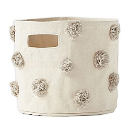 Pehr Pom-Pom Extra-Small Canvas Storage Bin in Grey