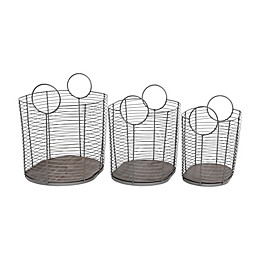 Baum Oval Wire Storage Baskets in Natural Wood (Set of 3)
