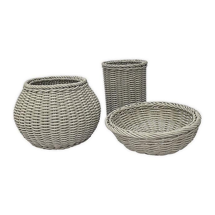 Alternate image 1 for Baum Lisbon Faux Wicker Decorative Baskets in Grey (Set of 3)