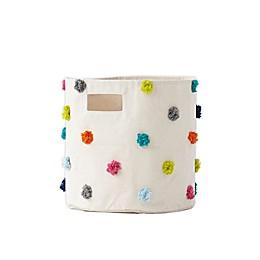 Multicolor Pom-Pom Medium Canvas Storage Bin