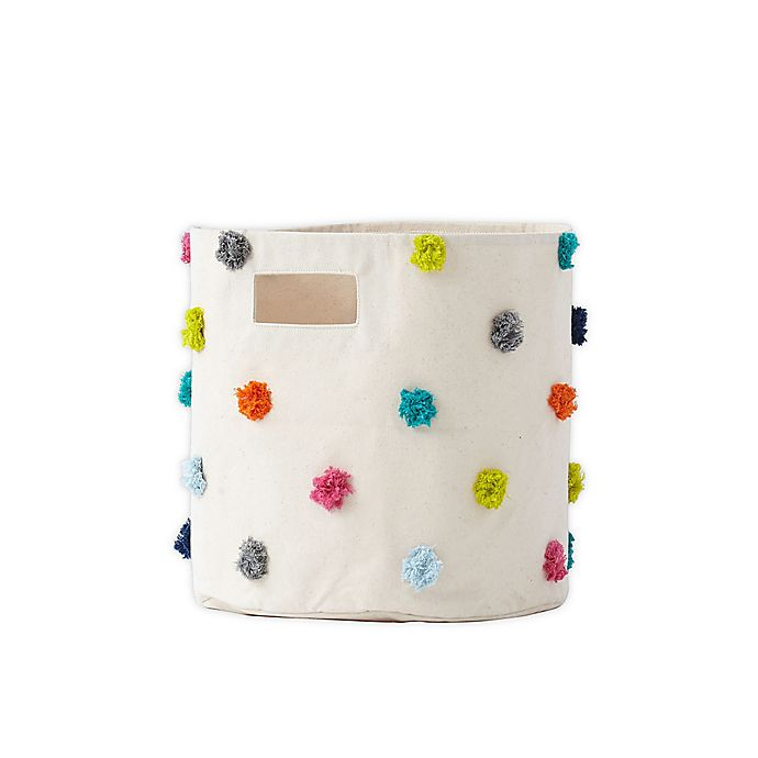 Alternate image 1 for pehr Pom Pom Canvas Storage Bin in Multi