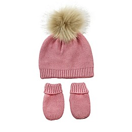 NYGB™ 2-Piece Garter Stitch Pom Hat and Mitten Set in Rose Quartz