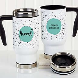 Modern Polka Dot Personalized 14 oz. Commuter Travel Mug