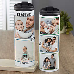 Love Photo Collage Personalized 16 oz. Travel Tumbler For Him