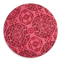 Safavieh Wyndham Irina 7-Foot Round Hand-Tufted Wool Rug in Red