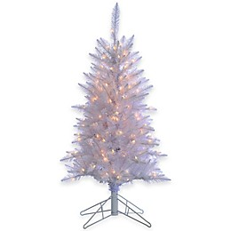 4-Foot White Tinsel Pre-Lit Christmas Tree with Clear Lights