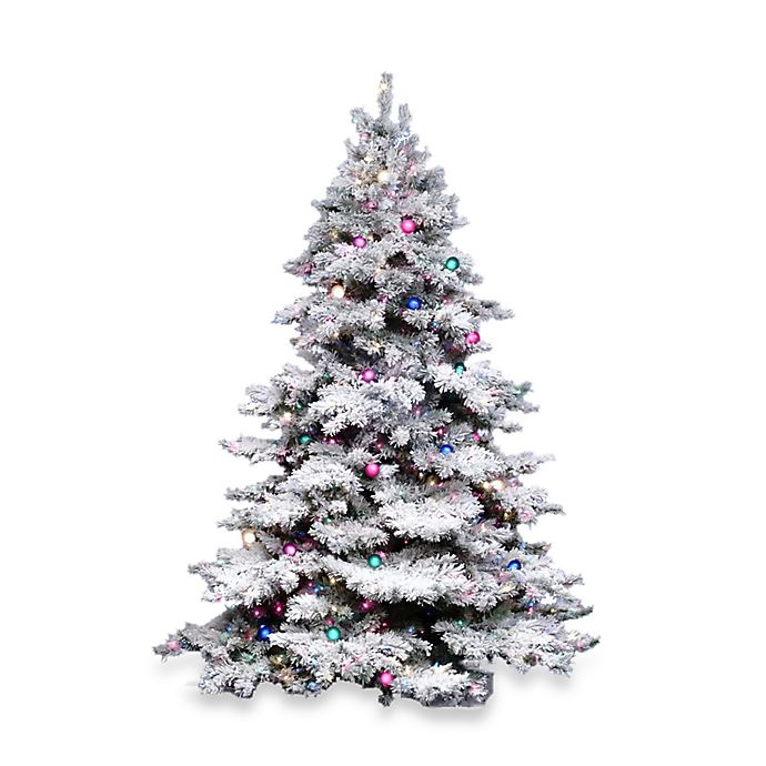 Pre Lit Flocked Artificial Christmas Trees: Vickerman Flocked Alaskan Pine Pre-Lit Christmas Tree With