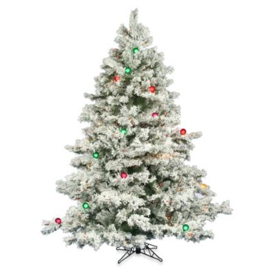 Vickerman 6.5-Foot Flocked Alaskan Pine Pre-Lit Christmas ...