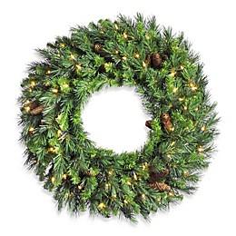 Vickerman 24-Inch Cheyenne Pine Pre-Lit Wreath with Clear Lights